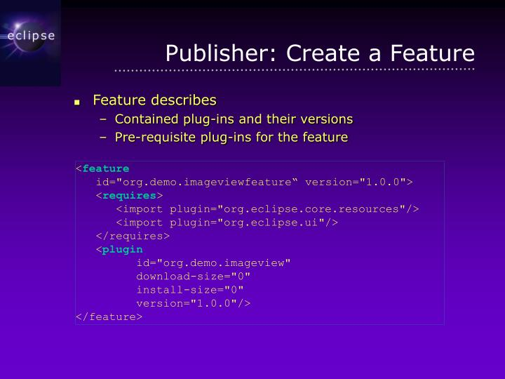 Publisher: Create a Feature