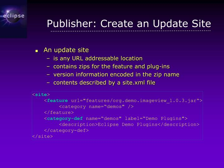 Publisher: Create an Update Site