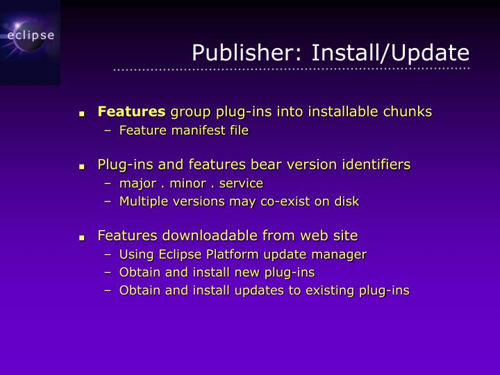 Publisher: Install/Update