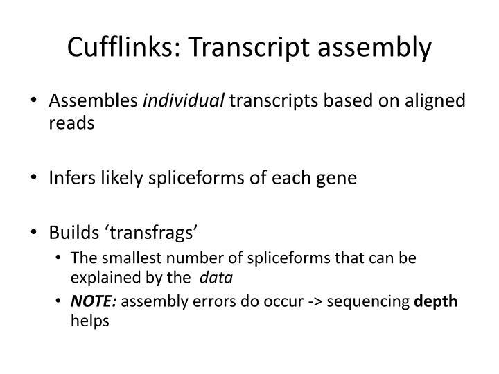 Cufflinks: Transcript assembly
