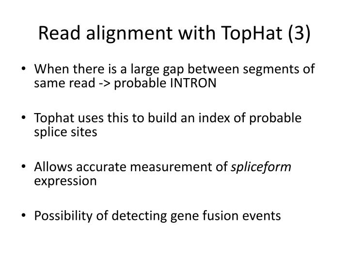 Read alignment with TopHat (3)