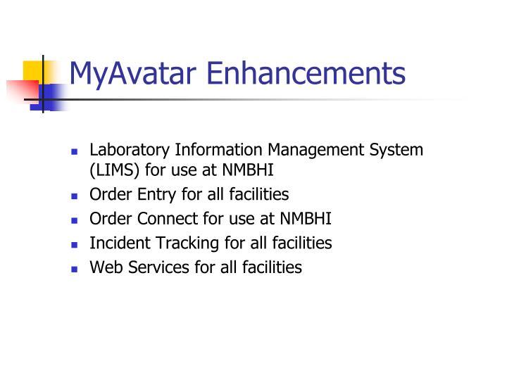 MyAvatar Enhancements