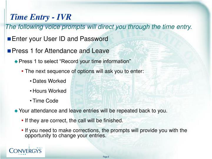 Time Entry - IVR