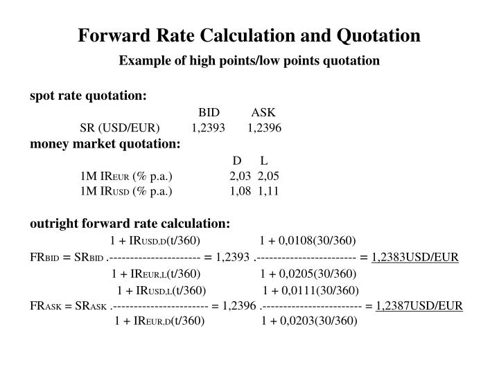 Forward rates calculation example