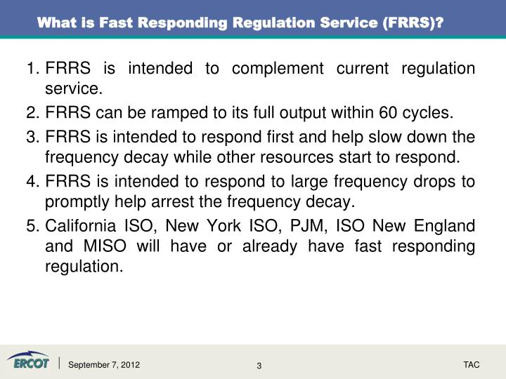 What is fast responding regulation service frrs