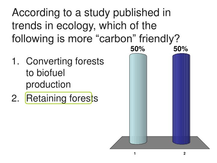 According to a study published in trends in ecology which of the following is more carbon friendly