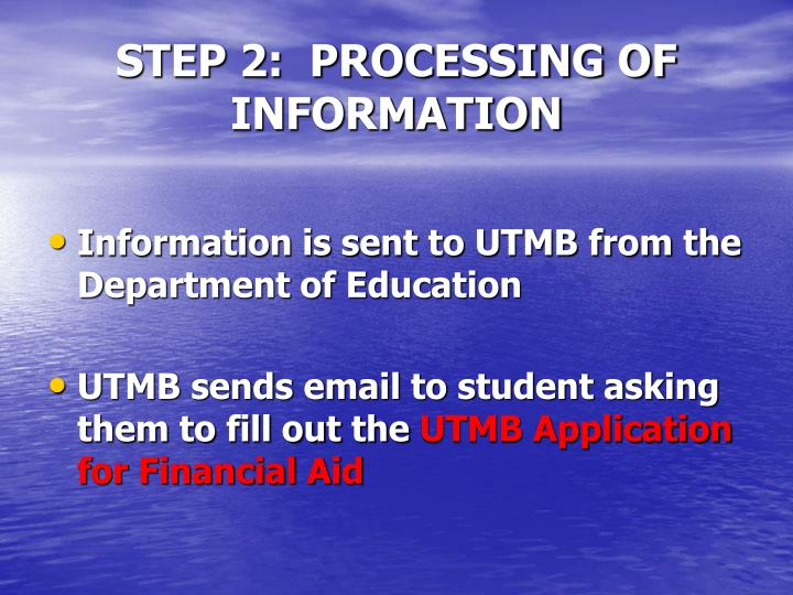 STEP 2:  PROCESSING OF INFORMATION