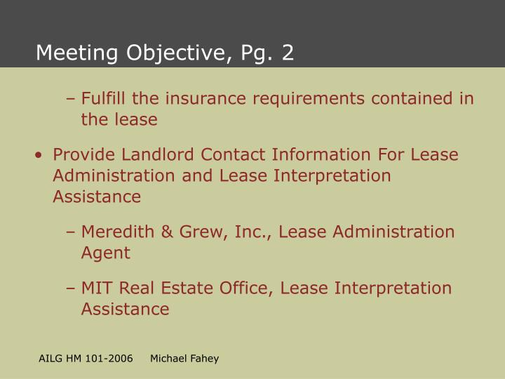 Meeting Objective, Pg. 2