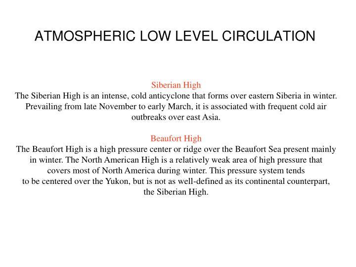 ATMOSPHERIC LOW LEVEL CIRCULATION
