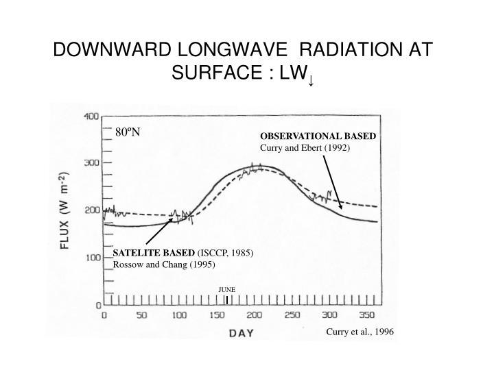 DOWNWARD LONGWAVE  RADIATION AT SURFACE : LW