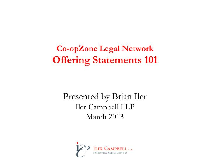 Co opzone legal network offering statements 101