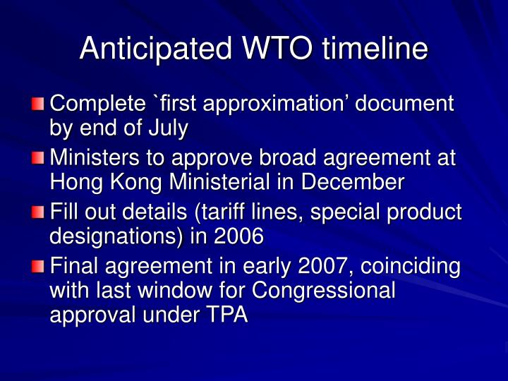 Anticipated WTO timeline
