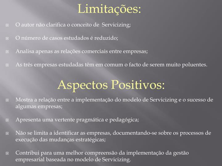 Limitações: