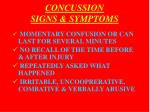 concussion signs symptoms