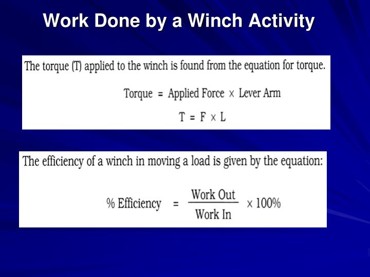 Work Done by a Winch Activity