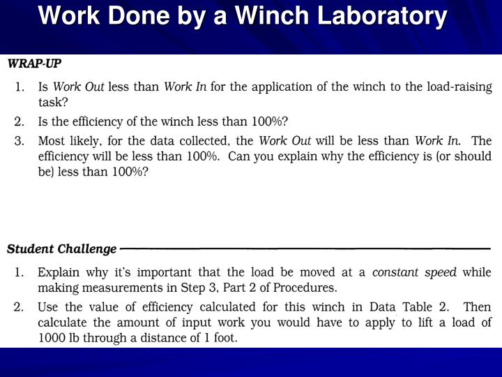 Work Done by a Winch Laboratory