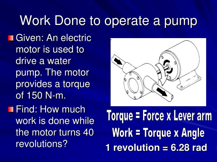 Work Done to operate a pump