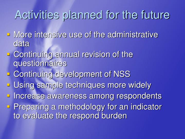 Activities planned for the future