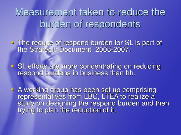 Measurement taken to reduce the burden of respondents