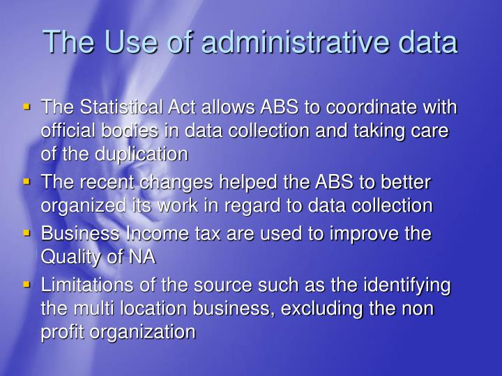 The Use of administrative data