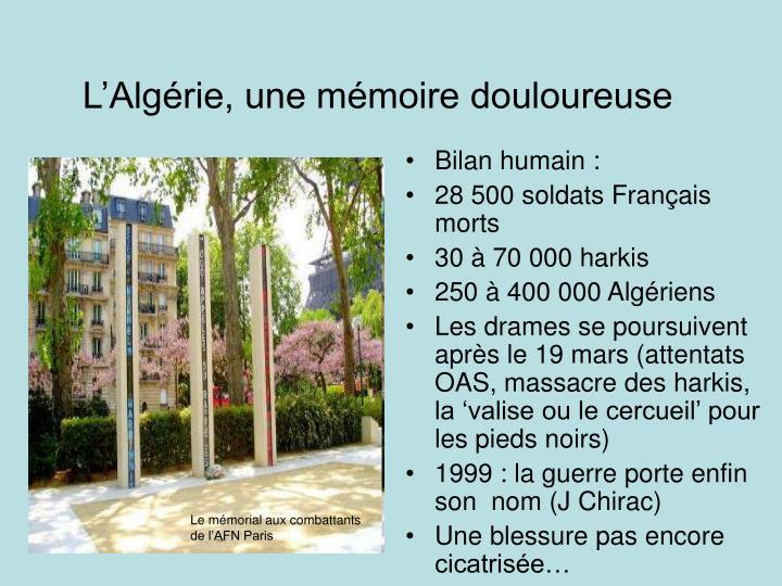 L'Algérie, une mémoire douloureuse