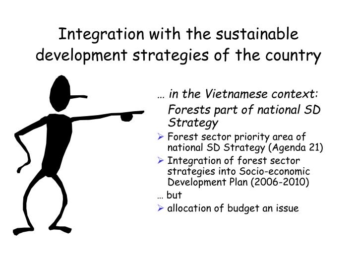 Integration with the sustainable development strategies of the country