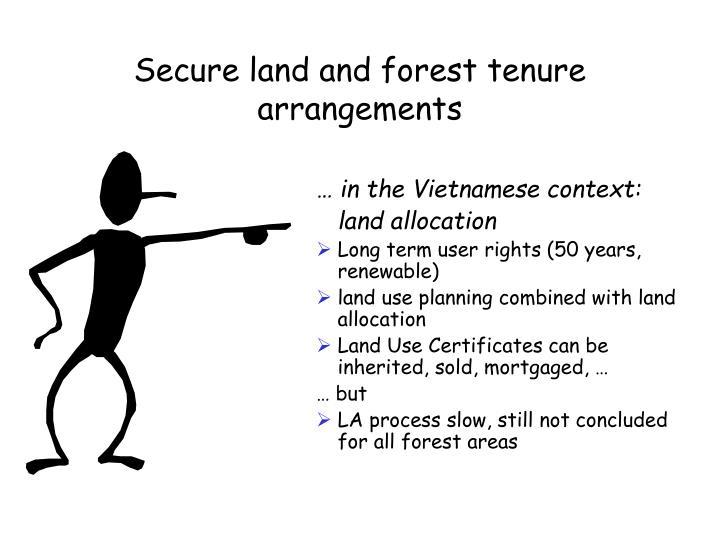 Secure land and forest tenure arrangements
