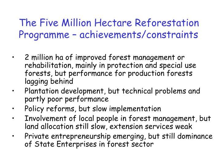 The Five Million Hectare Reforestation Programme – achievements/constraints