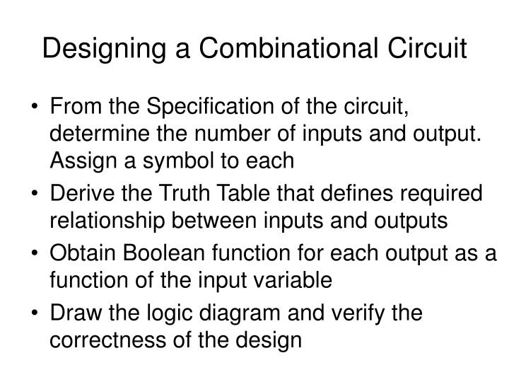 Designing a combinational circuit