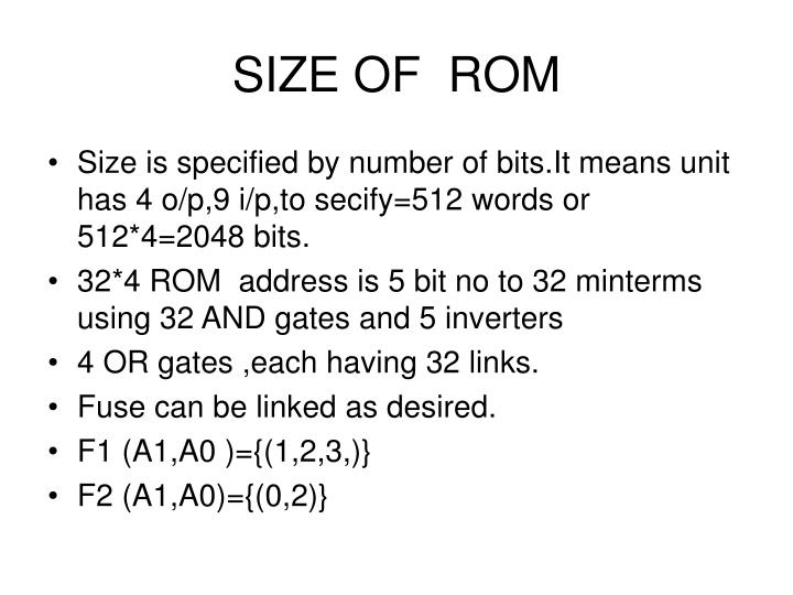 SIZE OF  ROM