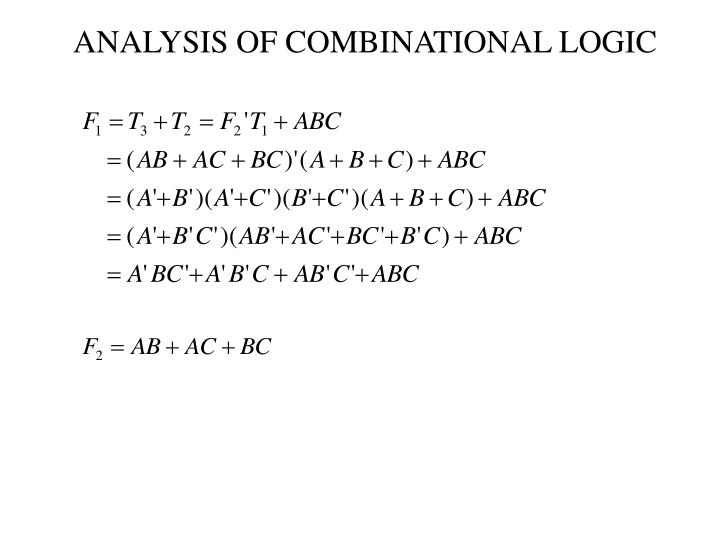 ANALYSIS OF COMBINATIONAL LOGIC