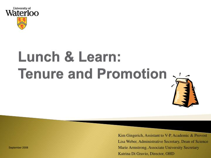 Lunch learn tenure and promotion