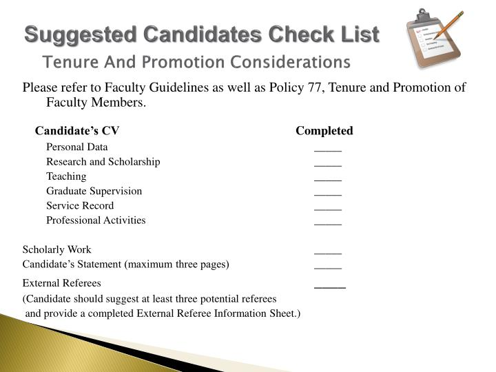 Suggested Candidates Check List