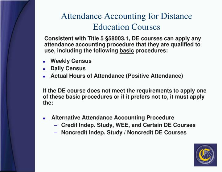 Attendance Accounting for Distance Education Courses