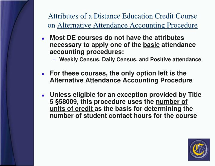 Attributes of a Distance Education Credit Course