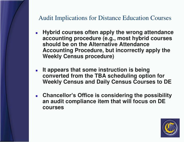 Audit Implications for Distance Education Courses