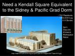 need a kendall square equivalent to the sidney pacific grad dorm