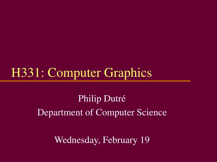H331 computer graphics