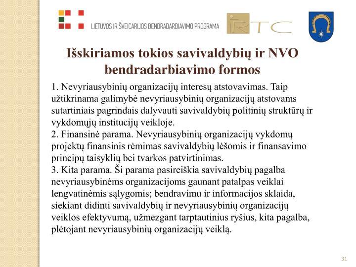Išskiriamos tokios savivaldybių ir NVO bendradarbiavimo formos