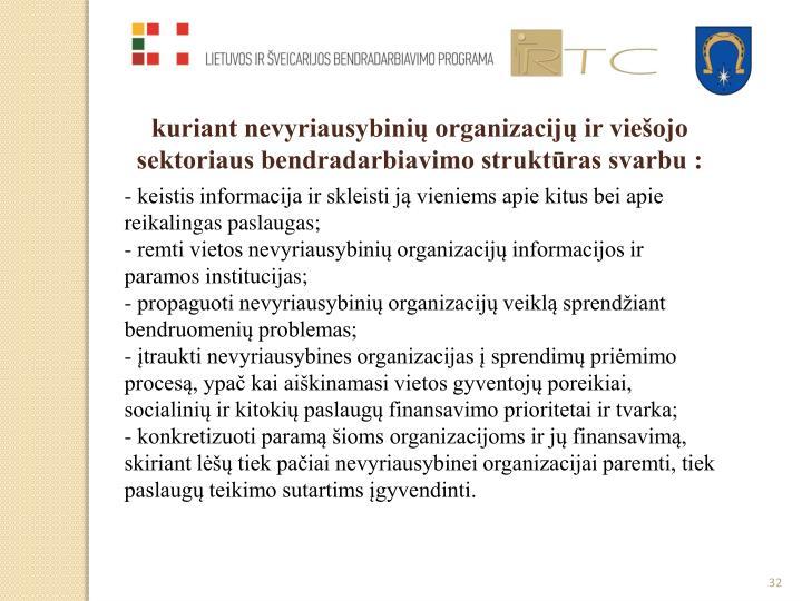 kuriant nevyriausybinių organizacijų ir viešojo sektoriaus bendradarbiavimo struktūras svarbu :