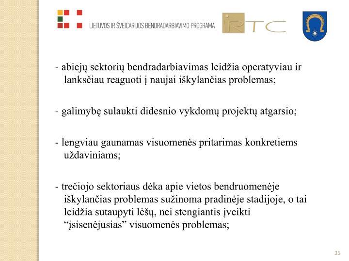 - abiejų sektorių bendradarbiavimas leidžia operatyviau ir lanksčiau reaguoti į naujai iškylančias problemas;