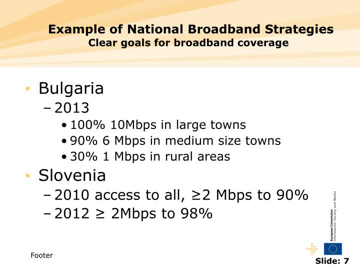 Example of National Broadband Strategies