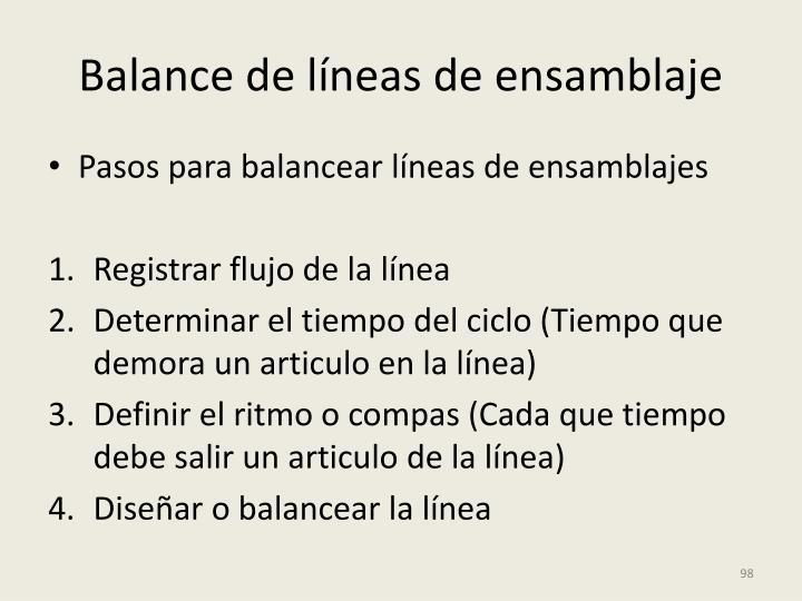 Balance de líneas de ensamblaje
