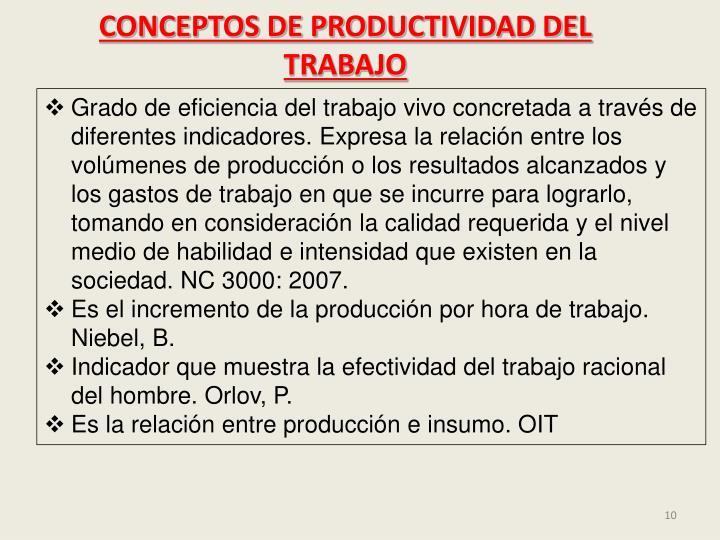 CONCEPTOS DE PRODUCTIVIDAD DEL TRABAJO