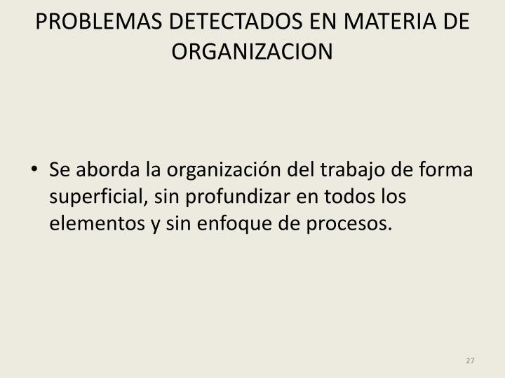PROBLEMAS DETECTADOS EN MATERIA DE ORGANIZACION
