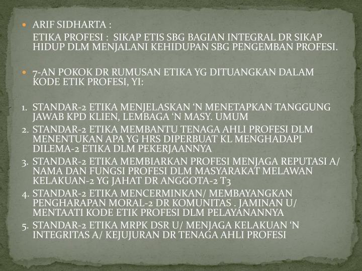 ARIF SIDHARTA :