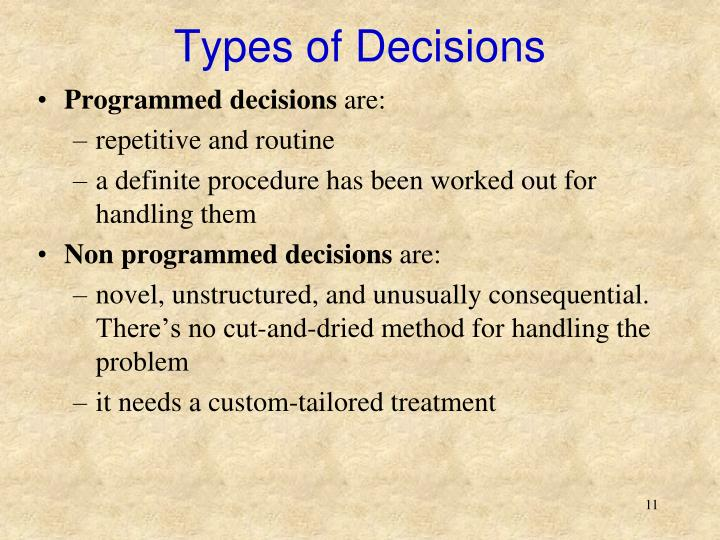 the efficiency of 3m in terms of programmed and non programmed decisions When managers are making decisions on behalf of the company why is decision-making so important a: what are examples of non-programmed decision making.