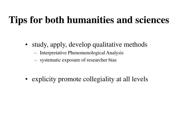 Tips for both humanities and sciences
