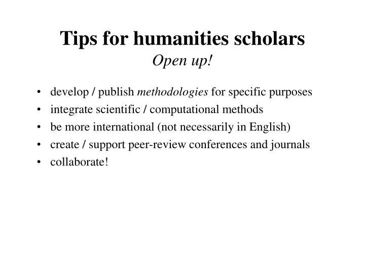 Tips for humanities scholars