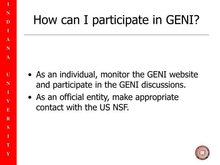 How can I participate in GENI?
